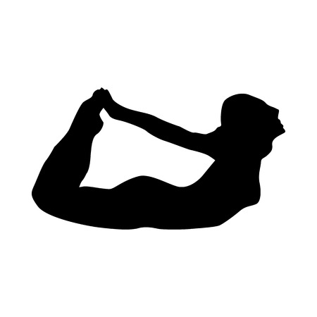 joga: Yoga silhouette black isolated on white background