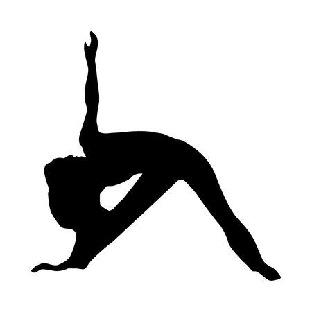 flexible woman: Yoga silhouette black isolated on white background