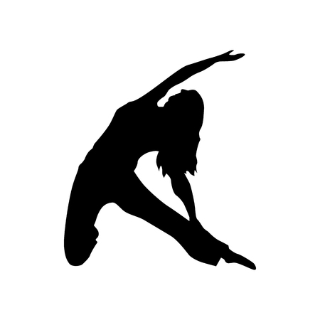 Yoga silhouette black isolated on white background