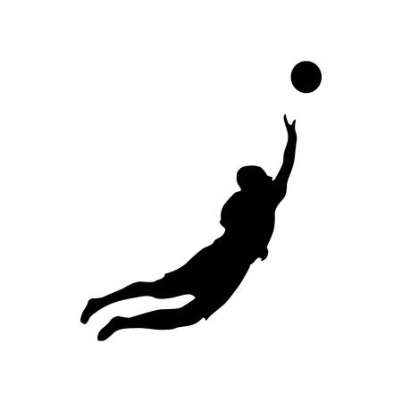 goalkeeper: Soccer goalkeeper silhouette isolated on white background