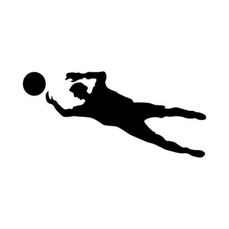 portero de futbol: silueta de portero de f�tbol aislado en el fondo blanco Vectores