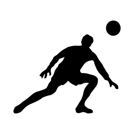 arquero de futbol: silueta de portero de fútbol aislado en el fondo blanco Vectores