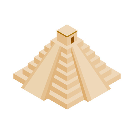 antiquities: Mayan pyramid in Yucatan, Mexico icon in isometric 3d style on a white background