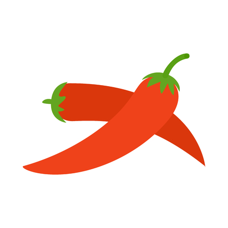 cayenne pepper: Two red hot chili pepper icon in isometric 3d style on a white background