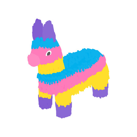 animal idiot: Colorful donkey icon in isometric 3d style on a white background Illustration