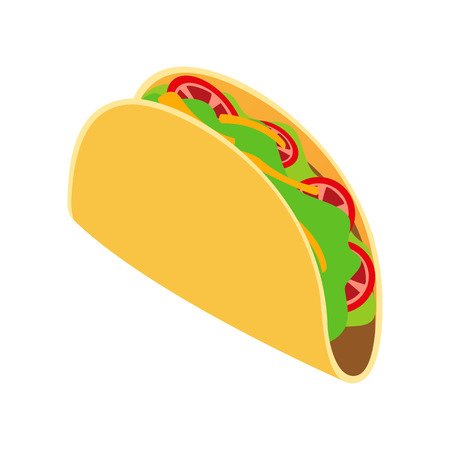 Tortilla wrap with vegetables icon in isometric 3d style on a white background
