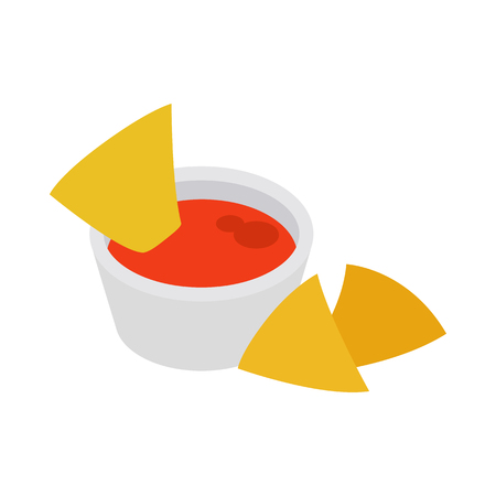 chips and salsa: Colorful donkey icon in isometric 3d style on a white background Illustration