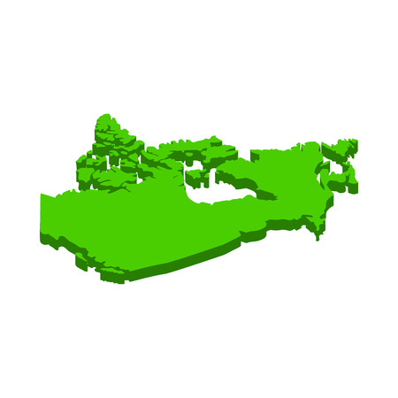territorial: Canada Map icon in isometric 3d style on a white background