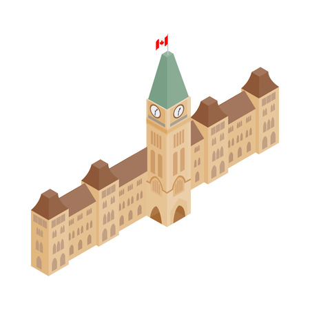 Parliament Buildings, Ottawa icon in isometric 3d style on a white background