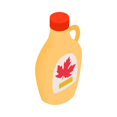 sap: Bottle of maple syrup icon in isometric 3d style on a white background