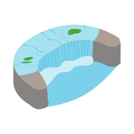 the edge of horseshoe falls: Horseshoe Fall icon in isometric 3d style on a white background
