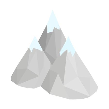 Halna ikona w isometric 3d stylu na białym tle