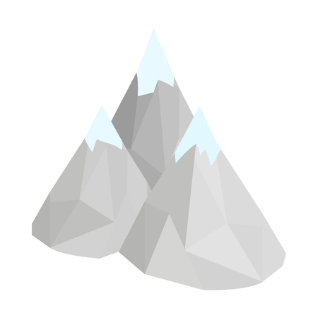 Mountain icon in isometric 3d style on a white background