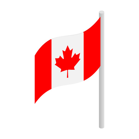 canada: Flag of Canada icon in isometric 3d style on a white background