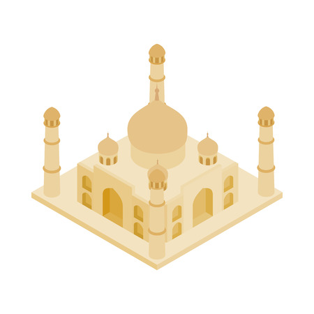 agra: Taj Mahal in India icon in isometric 3d style on a white background