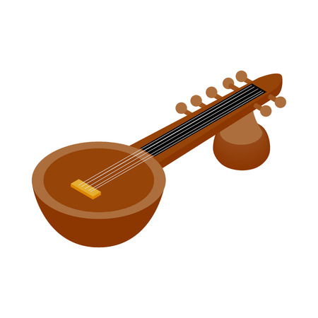 ethnical: Traditional Indian sarod icon in isometric 3d style on a white background