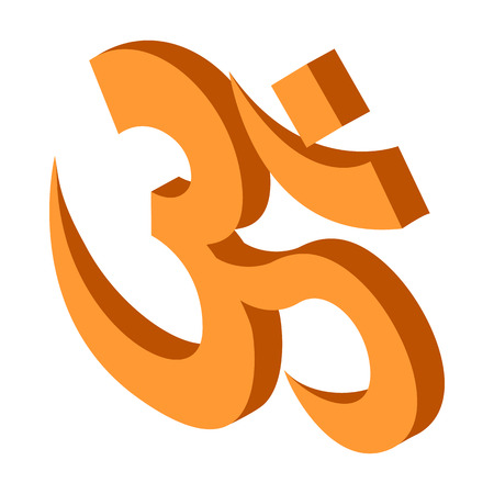 3d om: Hindu om symbol icon in isometric 3d style on a white background Illustration