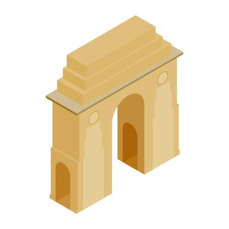 De Poort van India, New Delhi, India icoon in isometrische 3D-stijl op een witte achtergrond