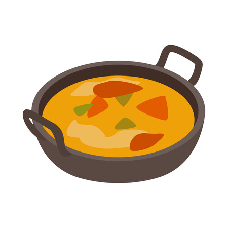 chutney: Indian traditional dish icon in isometric 3d style on a white background Illustration