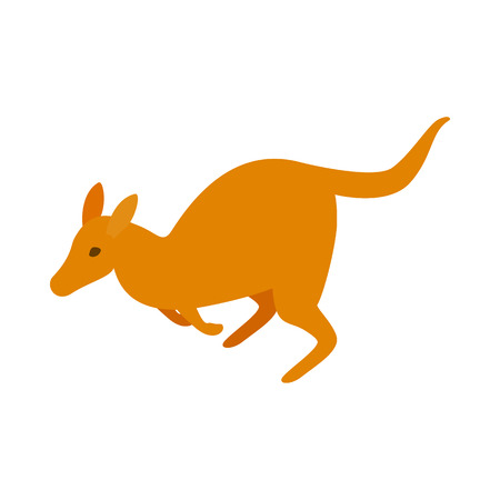 roo: Australian kangaroo icon in isometric 3d style on a white  background