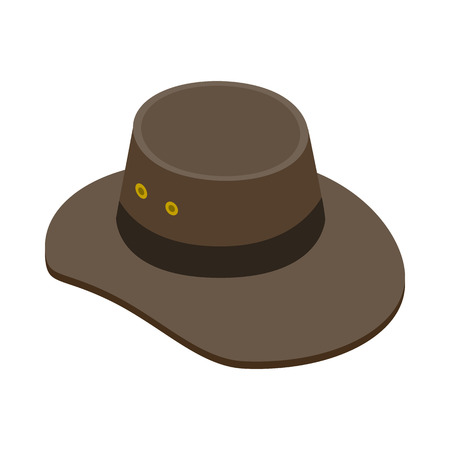 akubra: Cowboy hat icon in isometric 3d style on a white  background