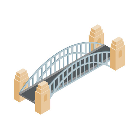 sydney: Sydney Harbour Bridge icon in isometric 3d style on a white  background
