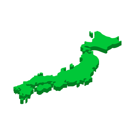 Map of Japan icon in isometric 3d style on a white  background
