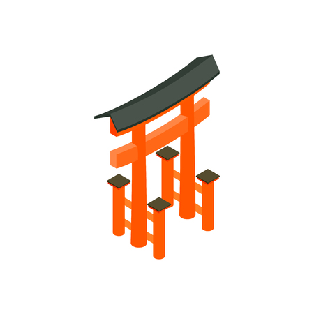 torii: Floating Torii gate, Japan icon in isometric 3d style on a white  background Illustration