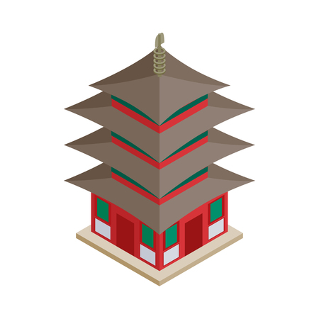 shinto: Pagoda icon in isometric 3d style on a white background Illustration