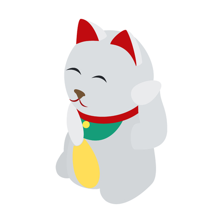 spitz: White Japanese Spitz icon in isometric 3d style on a white  background