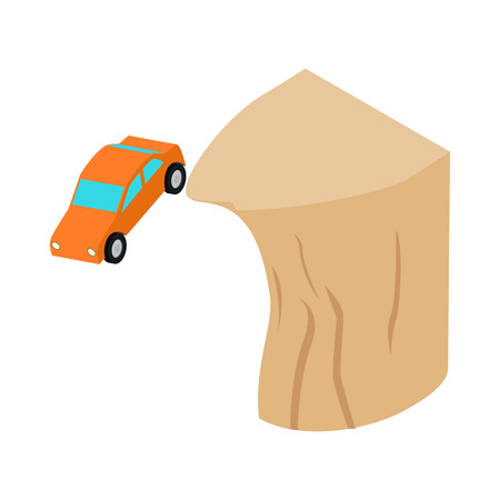 disastrous: Car falls off a cliff icon in isometric 3d style on a white  background
