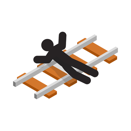 suicidal: Suicide on a railway icon in isometric 3d style on a white  background