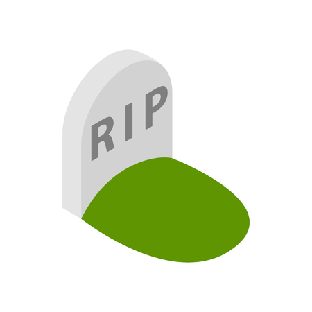 rip: Tombstone with RIP icon in isometric 3d style on a white  background
