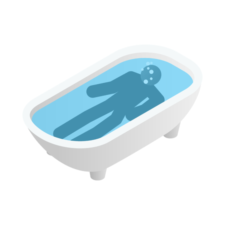 defenseless: Suicide in a bathroom icon in isometric 3d style on a white  background