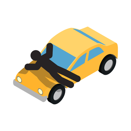 threw: Suicide threw himself under the car icon in isometric 3d style on a white  background