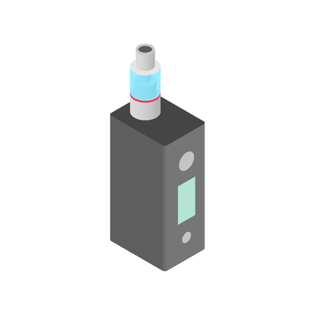 e cig: Vaping device icon in isometric 3d style on a white  background Illustration