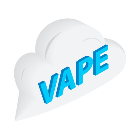 e cig: Vape word cloud icon in isometric 3d style on a white  background