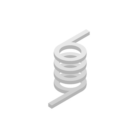 coil car: Metal spring icon in isometric 3d style on a white  background
