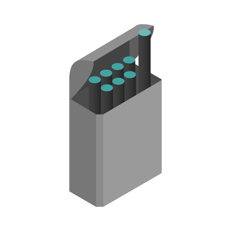 e cig: E-cigarettes with a box icon in isometric 3d style on a white  background