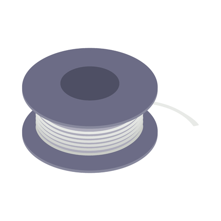 Wire spool icon in isometric 3d style on a white  background