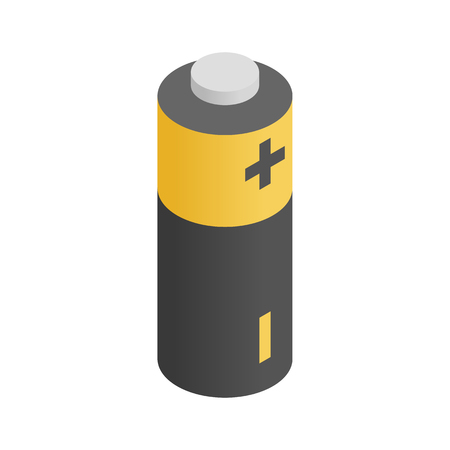 Battery icon in isometric 3d style on a white  background