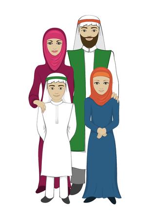 Moslim familie concept in de vlakke stijl. Arabische familie op een witte achtergrond