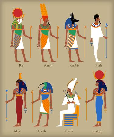 Gyptische Götter Symbole in flachen Stil für eny Design Standard-Bild - 52725126