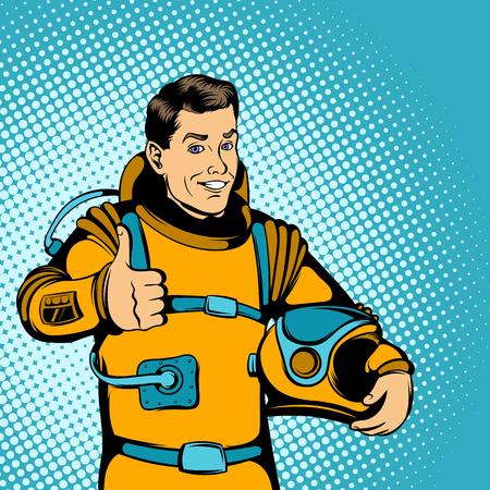 despedida: concepto astronauta en el estilo de los tebeos para cualquier dise�o Vectores