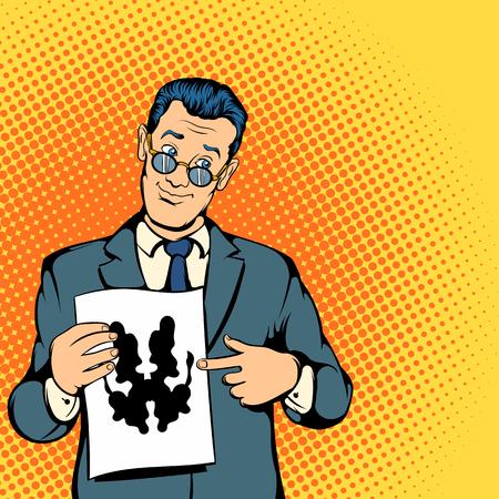 Psycholoog concept in de comics-stijl voor elk model Stock Illustratie