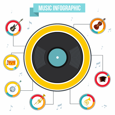 new age music: Music infographic in flat style for any design