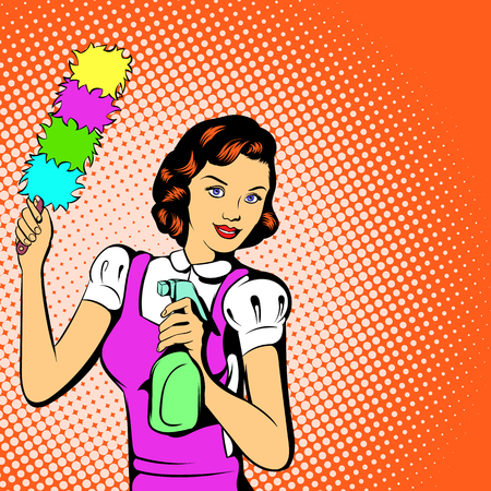 orden y limpieza: Concepto de limpieza de la mujer en el estilo de los cómics para cualquier diseño
