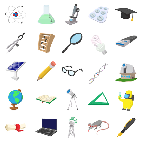 neutrons: Science icons set in cartoon style isolated on white background Illustration