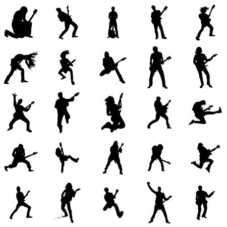 Gitarrist Silhouette Satz isoliert auf weißem Hintergrund Standard-Bild - 52725711