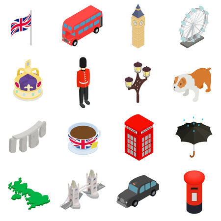 england: England icons set in isometric 3d style isolated on white